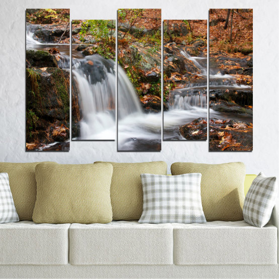 Canvas prints & wall decorative panels - 5 pieces №0559 » Brown, Black, Gray, Dark grey » Nature, Landscape, Waterfall, Water, Autumn Form #3