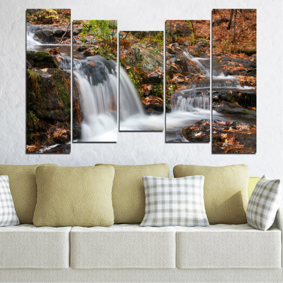 Canvas prints & wall decorative panels - 5 pieces №0559 » Brown, Black, Gray, Dark grey » Nature, Landscape, Waterfall, Water, Autumn Form #4