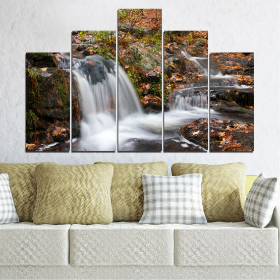 Canvas prints & wall decorative panels - 5 pieces №0559 » Brown, Black, Gray, Dark grey » Nature, Landscape, Waterfall, Water, Autumn Form #5