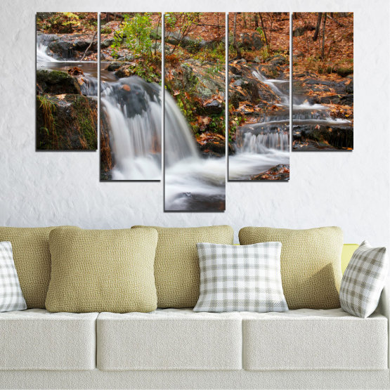 Canvas prints & wall decorative panels - 5 pieces №0559 » Brown, Black, Gray, Dark grey » Nature, Landscape, Waterfall, Water, Autumn Form #6