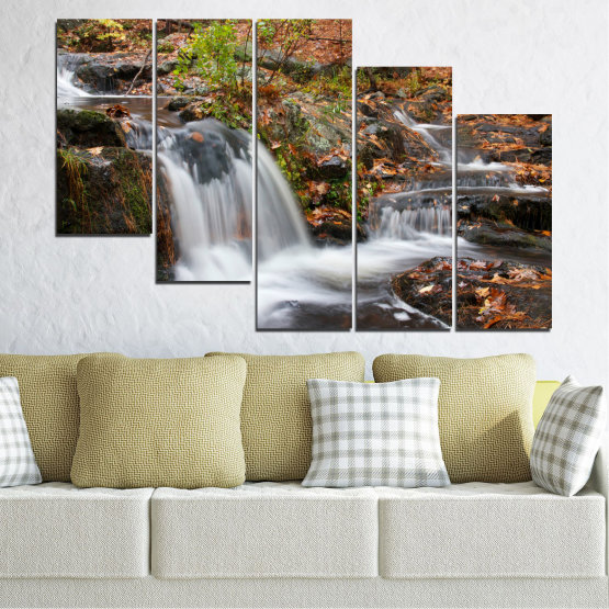 Canvas prints & wall decorative panels - 5 pieces №0559 » Brown, Black, Gray, Dark grey » Nature, Landscape, Waterfall, Water, Autumn Form #7