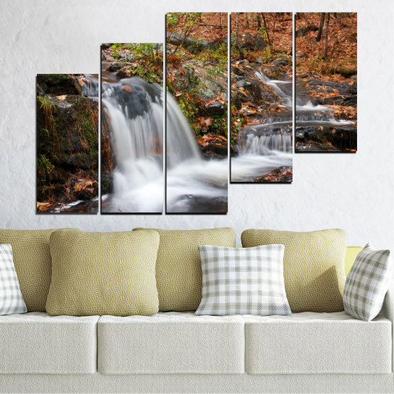 Canvas prints & wall decorative panels - 5 pieces №0559 » Brown, Black, Gray, Dark grey » Nature, Landscape, Waterfall, Water, Autumn Form #8