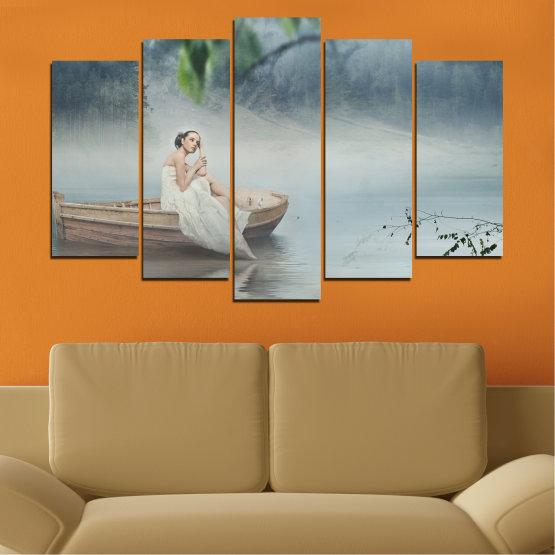 Декоративни панели и картини от канава - от 5 части №0056 » Кафяв, Сив, Тъмно сив » Жена, Вода, Лодка Form #1