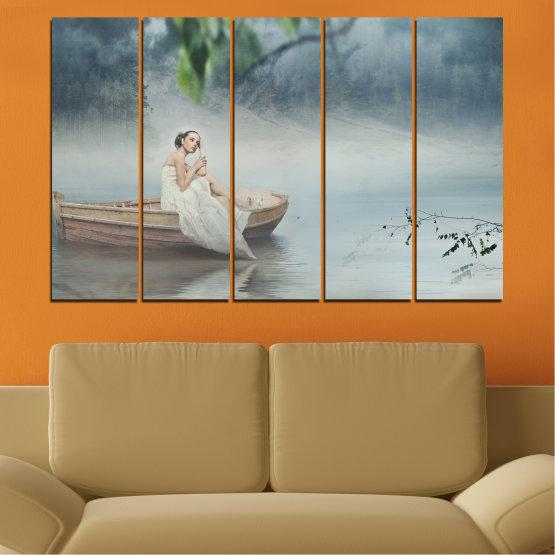 Декоративни панели и картини от канава - от 5 части №0056 » Кафяв, Сив, Тъмно сив » Жена, Вода, Лодка Form #2