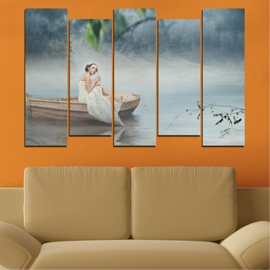 Декоративни панели и картини от канава - от 5 части №0056 » Кафяв, Сив, Тъмно сив » Жена, Вода, Лодка Form #3