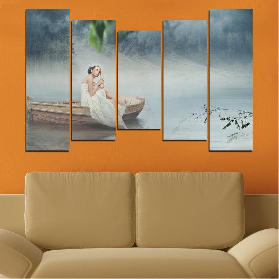 Декоративни панели и картини от канава - от 5 части №0056 » Кафяв, Сив, Тъмно сив » Жена, Вода, Лодка Form #4