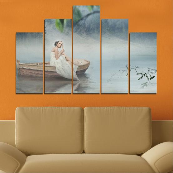 Декоративни панели и картини от канава - от 5 части №0056 » Кафяв, Сив, Тъмно сив » Жена, Вода, Лодка Form #5