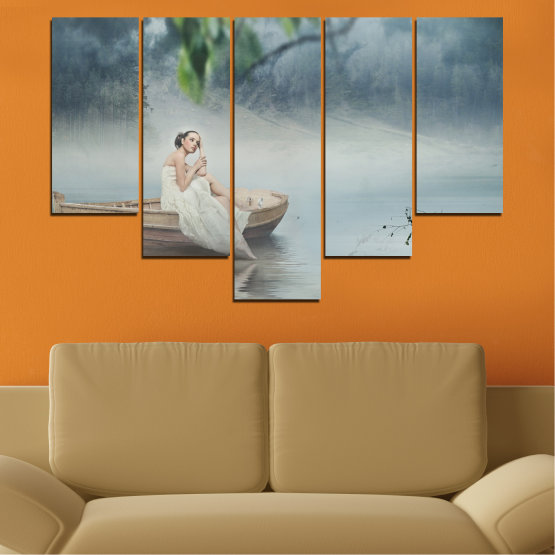 Декоративни панели и картини от канава - от 5 части №0056 » Кафяв, Сив, Тъмно сив » Жена, Вода, Лодка Form #6