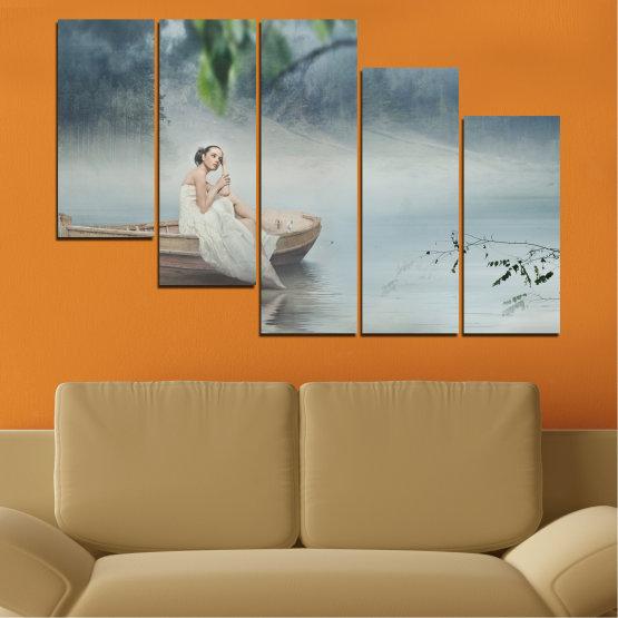 Декоративни панели и картини от канава - от 5 части №0056 » Кафяв, Сив, Тъмно сив » Жена, Вода, Лодка Form #7