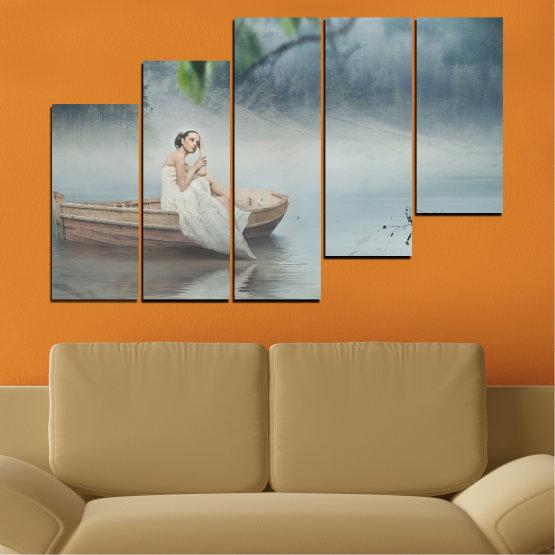 Декоративни панели и картини от канава - от 5 части №0056 » Кафяв, Сив, Тъмно сив » Жена, Вода, Лодка Form #8