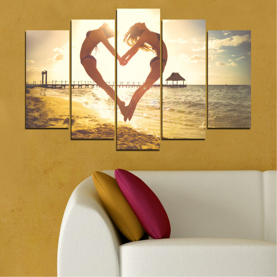 Canvas prints & wall decorative panels - 5 pieces №0560 » Orange, Brown, Gray, White, Beige » Sea, Water, Woman, Beach, Summer, Heart Form #1