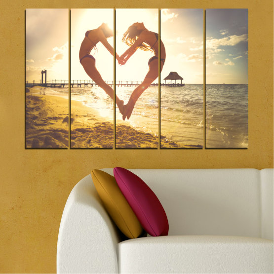 Canvas prints & wall decorative panels - 5 pieces №0560 » Orange, Brown, Gray, White, Beige » Sea, Woman, Water, Beach, Summer, Heart Form #2