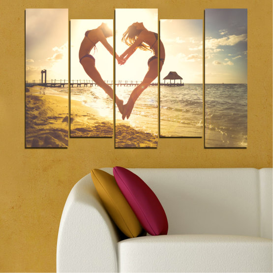 Canvas prints & wall decorative panels - 5 pieces №0560 » Orange, Brown, Gray, White, Beige » Sea, Water, Woman, Beach, Summer, Heart Form #3