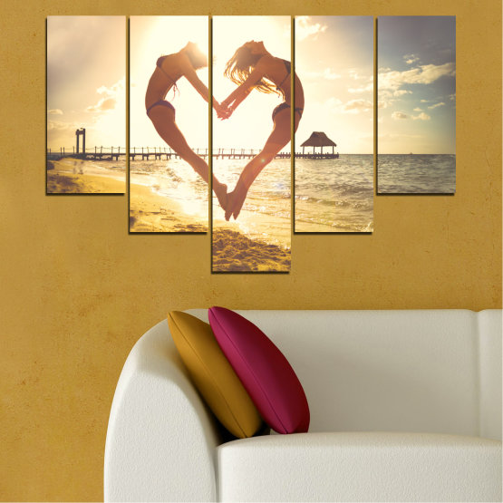 Canvas prints & wall decorative panels - 5 pieces №0560 » Orange, Brown, Gray, White, Beige » Sea, Water, Woman, Beach, Summer, Heart Form #6