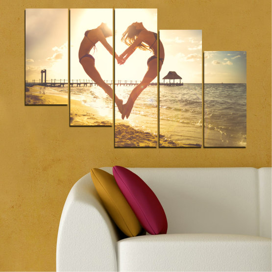 Canvas prints & wall decorative panels - 5 pieces №0560 » Orange, Brown, Gray, White, Beige » Sea, Water, Woman, Beach, Summer, Heart Form #7