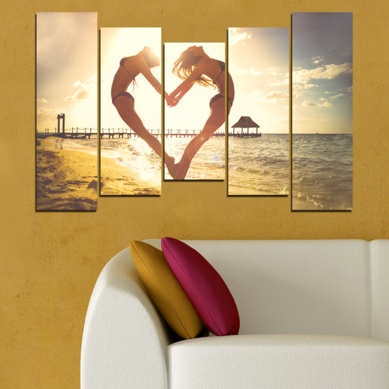 Canvas prints & wall decorative panels - 5 pieces №0560 » Orange, Brown, Gray, White, Beige » Sea, Woman, Water, Beach, Summer, Heart Form #4
