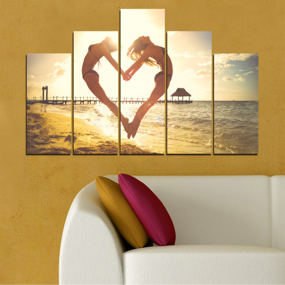 Canvas prints & wall decorative panels - 5 pieces №0560 » Orange, Brown, Gray, White, Beige » Sea, Water, Woman, Beach, Summer, Heart Form #5