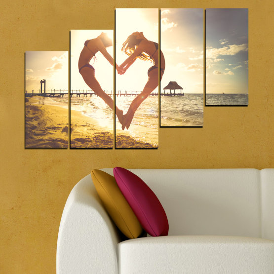 Canvas prints & wall decorative panels - 5 pieces №0560 » Orange, Brown, Gray, White, Beige » Sea, Water, Woman, Beach, Summer, Heart Form #8