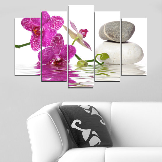 Canvas prints & wall decorative panels - 5 pieces №0561 » Pink, Purple, Gray, White » Flowers, Feng shui, Orchid, Water, Zen, Stones, Spa Form #1