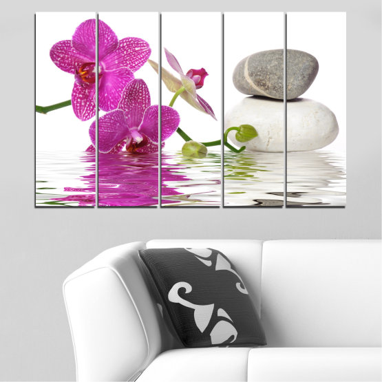 Canvas prints & wall decorative panels - 5 pieces №0561 » Pink, Purple, Gray, White » Flowers, Feng shui, Orchid, Water, Zen, Stones, Spa Form #2