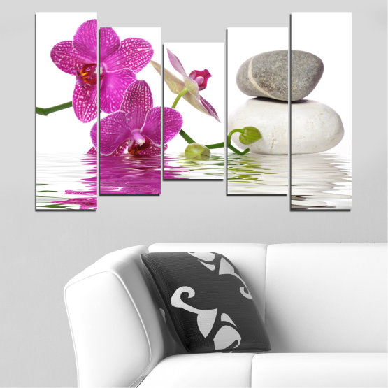 Canvas prints & wall decorative panels - 5 pieces №0561 » Pink, Purple, Gray, White » Flowers, Feng shui, Orchid, Water, Zen, Stones, Spa Form #4