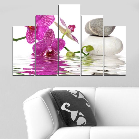 Canvas prints & wall decorative panels - 5 pieces №0561 » Pink, Purple, Gray, White » Flowers, Feng shui, Orchid, Water, Zen, Stones, Spa Form #5