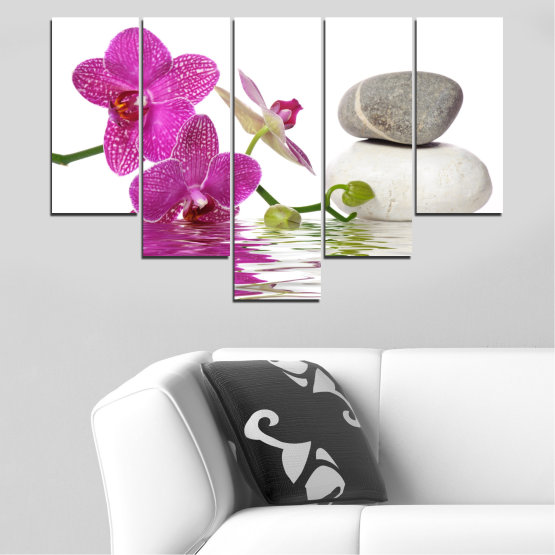Canvas prints & wall decorative panels - 5 pieces №0561 » Pink, Purple, Gray, White » Flowers, Feng shui, Orchid, Water, Zen, Stones, Spa Form #6