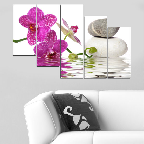 Canvas prints & wall decorative panels - 5 pieces №0561 » Pink, Purple, Gray, White » Flowers, Feng shui, Orchid, Water, Zen, Stones, Spa Form #7