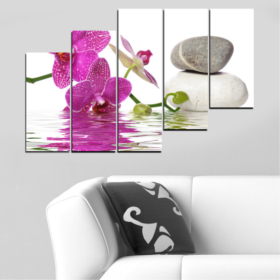 Canvas prints & wall decorative panels - 5 pieces №0561 » Pink, Purple, Gray, White » Flowers, Feng shui, Orchid, Water, Zen, Stones, Spa Form #8