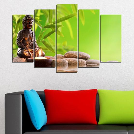 Декоративни панели и картини от канава - от 5 части №0562 » Зелен, Бежов » Вода, Фън шуй, Камъни, Бамбук, Дзен, Спа, Свещ, Буда Form #1