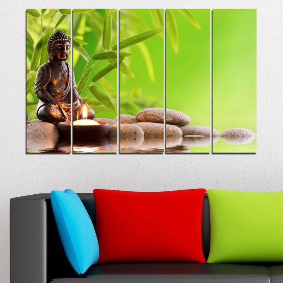 Декоративни панели и картини от канава - от 5 части №0562 » Зелен, Бежов » Вода, Фън шуй, Камъни, Бамбук, Дзен, Спа, Свещ, Буда Form #2