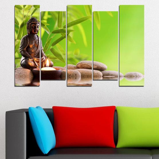 Декоративни панели и картини от канава - от 5 части №0562 » Зелен, Бежов » Вода, Фън шуй, Камъни, Бамбук, Дзен, Спа, Свещ, Буда Form #3