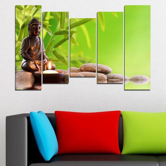Декоративни панели и картини от канава - от 5 части №0562 » Зелен, Бежов » Вода, Фън шуй, Камъни, Бамбук, Дзен, Спа, Свещ, Буда Form #4