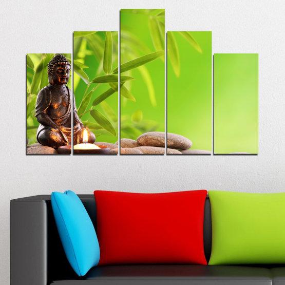 Декоративни панели и картини от канава - от 5 части №0562 » Зелен, Бежов » Вода, Фън шуй, Камъни, Бамбук, Дзен, Спа, Свещ, Буда Form #5