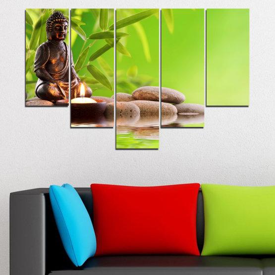 Декоративни панели и картини от канава - от 5 части №0562 » Зелен, Бежов » Вода, Фън шуй, Камъни, Бамбук, Дзен, Спа, Свещ, Буда Form #6