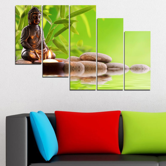 Декоративни панели и картини от канава - от 5 части №0562 » Зелен, Бежов » Вода, Фън шуй, Камъни, Бамбук, Дзен, Спа, Свещ, Буда Form #7