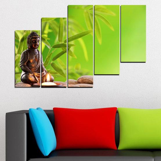 Декоративни панели и картини от канава - от 5 части №0562 » Зелен, Бежов » Вода, Фън шуй, Камъни, Бамбук, Дзен, Спа, Свещ, Буда Form #8