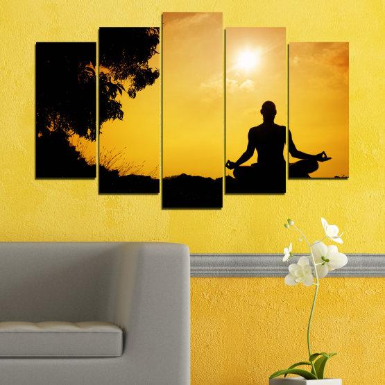 Декоративни панели и картини от канава - от 5 части №0563 » Зелен, Жълт, Оранжев, Черен » Слънце, Спа, Сянка, Йога Form #1