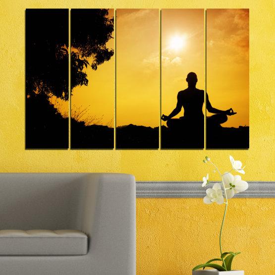 Декоративни панели и картини от канава - от 5 части №0563 » Зелен, Жълт, Оранжев, Черен » Слънце, Спа, Сянка, Йога Form #2