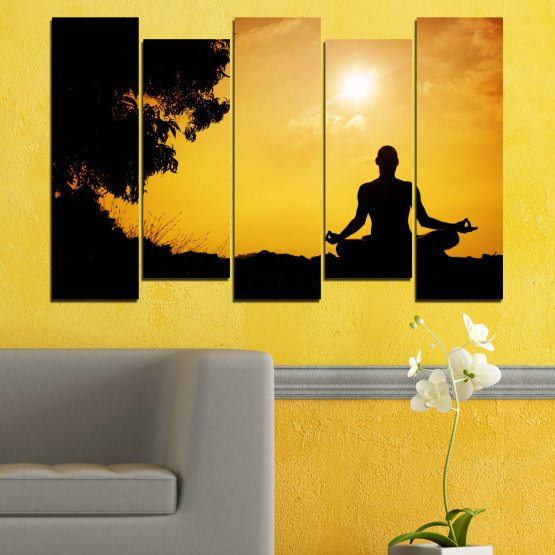 Декоративни панели и картини от канава - от 5 части №0563 » Зелен, Жълт, Оранжев, Черен » Слънце, Спа, Сянка, Йога Form #3