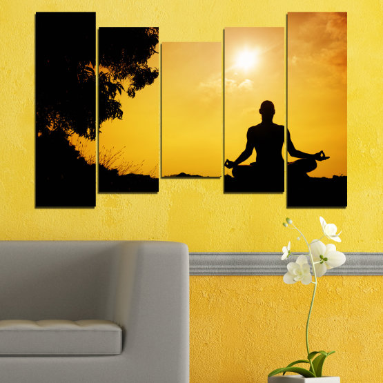 Canvas prints & wall decorative panels - 5 pieces №0563 » Green, Yellow, Orange, Black » Sun, Spa, Shadow, Yoga Form #4