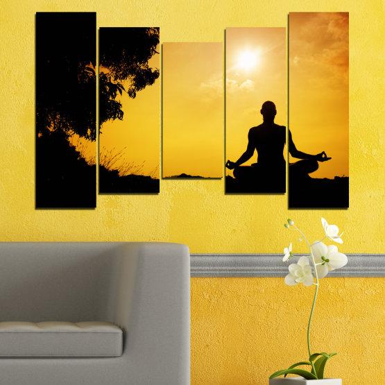 Декоративни панели и картини от канава - от 5 части №0563 » Зелен, Жълт, Оранжев, Черен » Слънце, Спа, Сянка, Йога Form #4