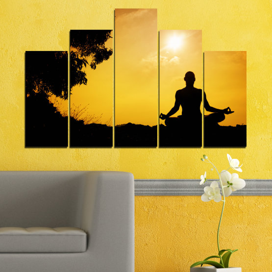 Canvas prints & wall decorative panels - 5 pieces №0563 » Green, Yellow, Orange, Black » Sun, Spa, Shadow, Yoga Form #5