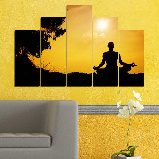 Декоративни панели и картини от канава - от 5 части №0563 » Зелен, Жълт, Оранжев, Черен » Слънце, Спа, Сянка, Йога Form #5