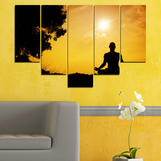 Canvas prints & wall decorative panels - 5 pieces №0563 » Green, Yellow, Orange, Black » Sun, Spa, Shadow, Yoga Form #6