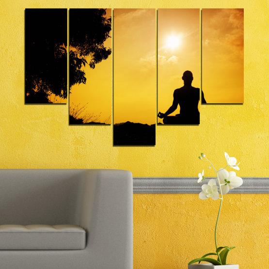 Декоративни панели и картини от канава - от 5 части №0563 » Зелен, Жълт, Оранжев, Черен » Слънце, Спа, Сянка, Йога Form #6