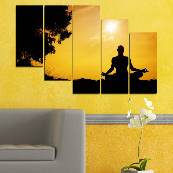 Canvas prints & wall decorative panels - 5 pieces №0563 » Green, Yellow, Orange, Black » Sun, Spa, Shadow, Yoga Form #7