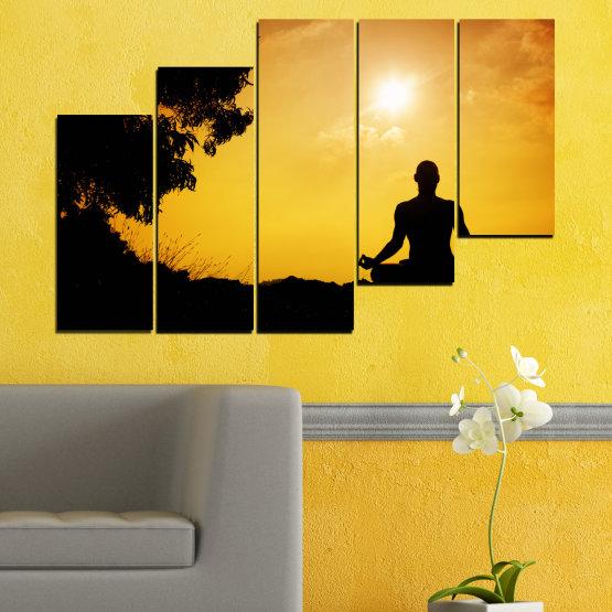 Декоративни панели и картини от канава - от 5 части №0563 » Зелен, Жълт, Оранжев, Черен » Слънце, Спа, Сянка, Йога Form #8