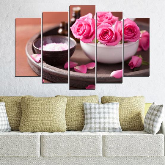 Декоративни панели и картини от канава - от 5 части №0564 » Розов, Кафяв, Черен, Сив, Тъмно сив » Цветя, Фън шуй, Роза, Спа Form #1
