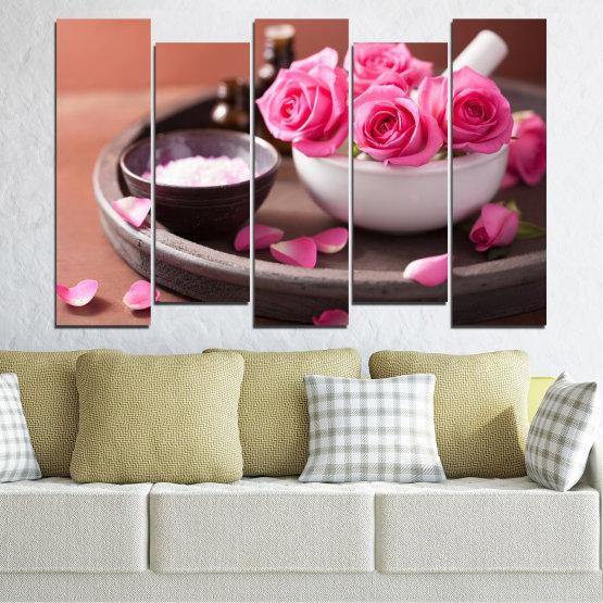 Декоративни панели и картини от канава - от 5 части №0564 » Розов, Кафяв, Черен, Сив, Тъмно сив » Цветя, Фън шуй, Роза, Спа Form #3